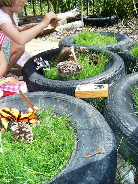 tyre crafts - mini garden and imaginative play