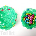 DIY Glue Yarn Bowl for Spring - love this take on the yarn bowl - by using green wool and colourful flowers