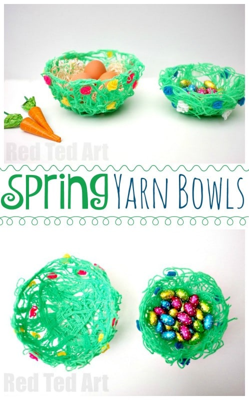 DIY Glue Yarn Bowl for Spring - love this take on the yarn bowl. By using green wool and colourful flowers