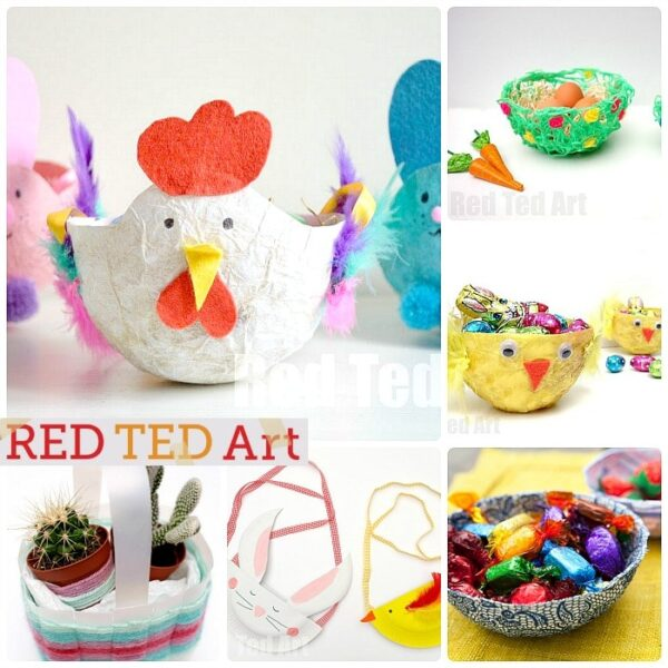 Easter basket crafts red ted arts blog easter baskets for kids to make cute easy and fun lots of great negle Images