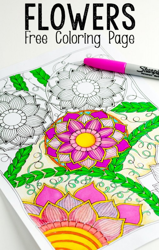 Flowers-Coloring-Page-for-Adults-and-Kids