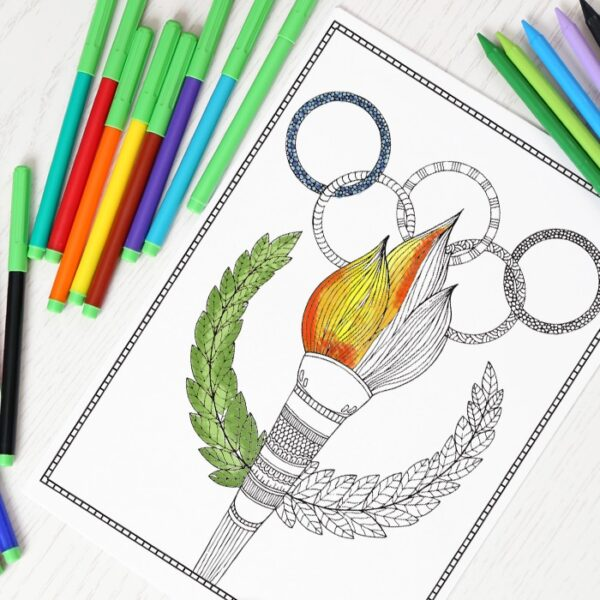 Olympics Coloring Page For Grown Ups Red Ted Art Make Crafting With Kids Easy Fun