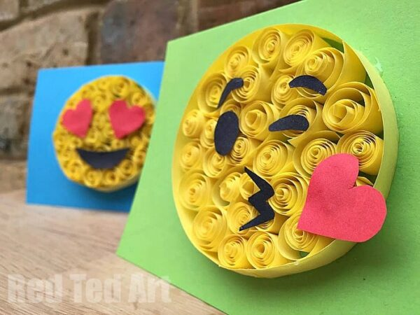 Easy paper quilling emoji cards red ted art 39 s blog for 3d christmas cards to make at home