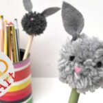 bunny pom pom pencil topper DIY - a cute, fun and easy craft