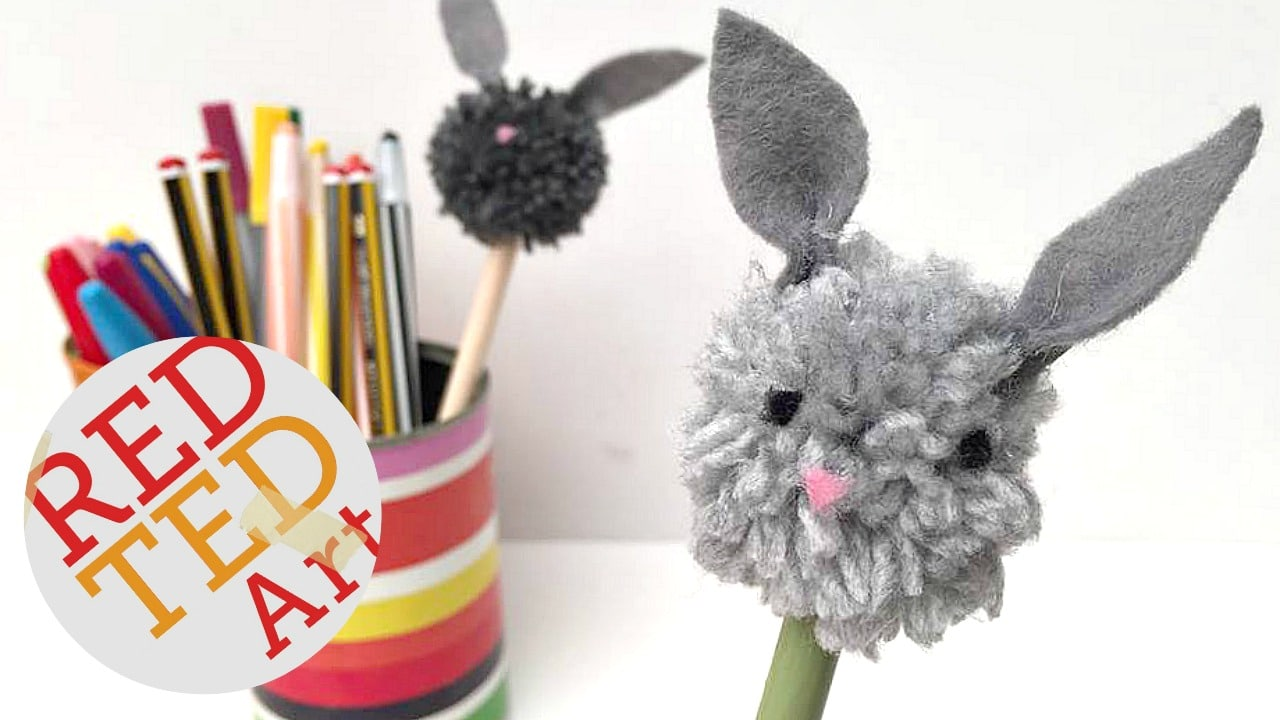 Pom Pom Bunny Pencil Toppers - Red Ted Art's Blog