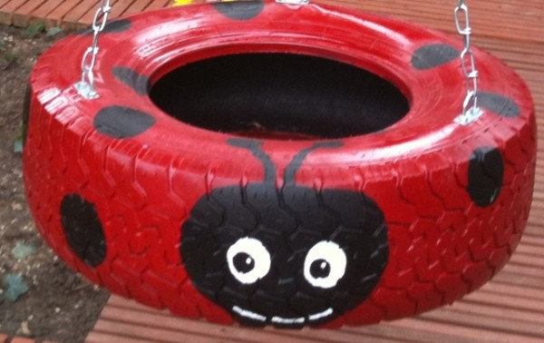 swing-ladybug-made from a tire