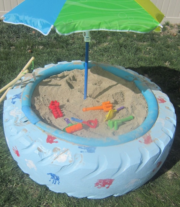 tire sandbox diy idea