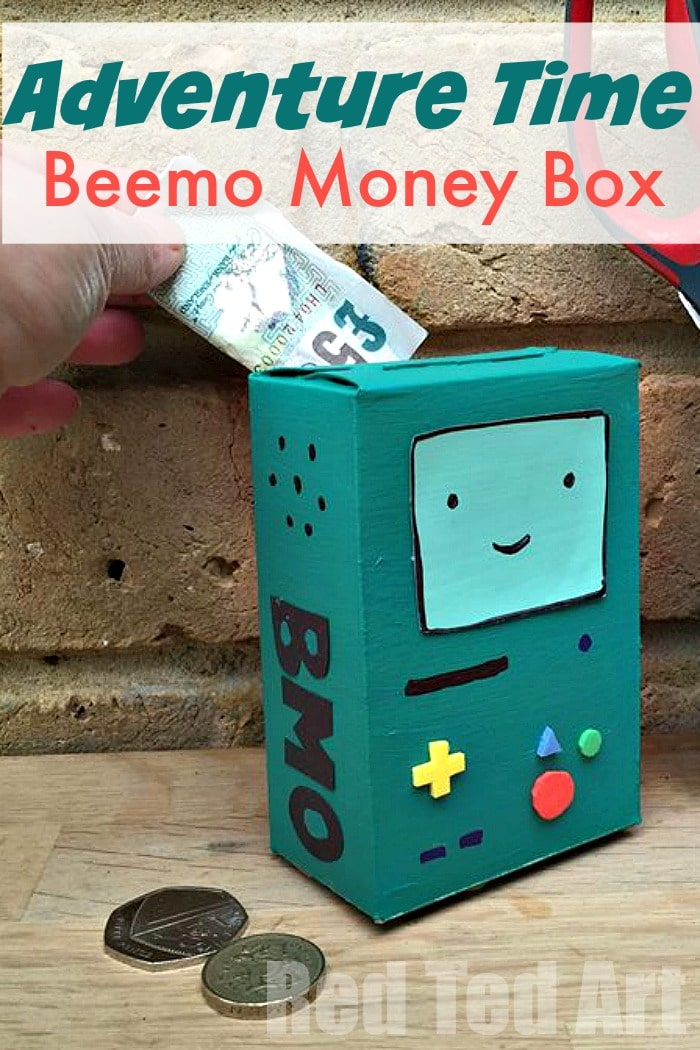 Adventure time craft desk tidy money box red ted art for Making crafts for money