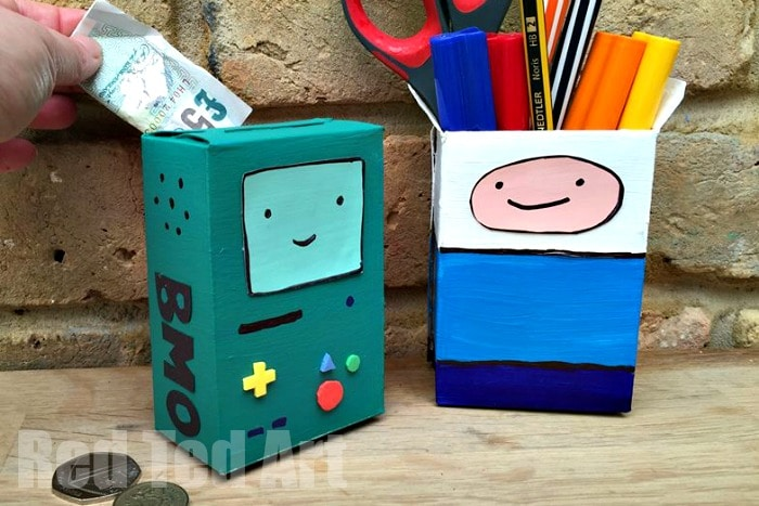 Adventure Time Finn & BMO Desk Tidy and Money Box - a fabulous fun and easy craft for kids