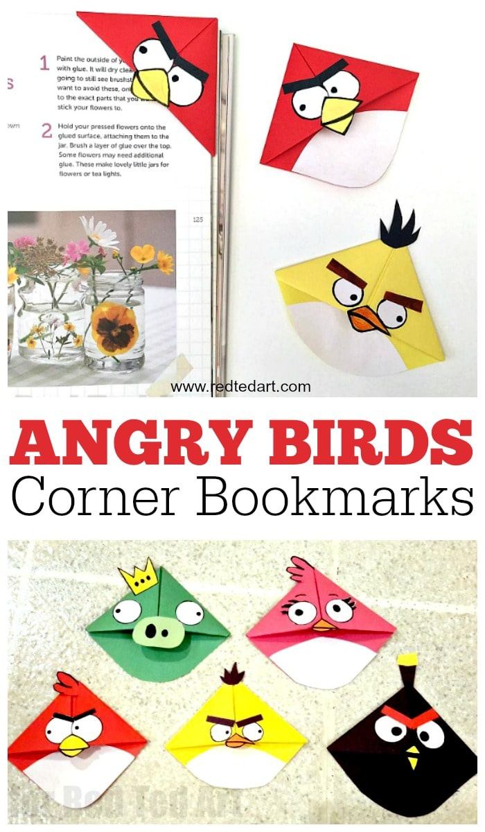 Angry Birds Bookmark Corner. A great corner bookmark craft for kids to make and enjoy. Learn ho wto make these easy and fun angry bird crafts!! #bookmarks #cornerbookmarks #bookmarks #angrybirds