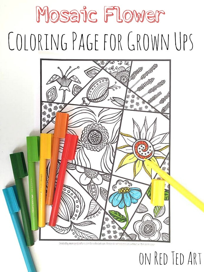 Flower Coloring Page for Grown Ups