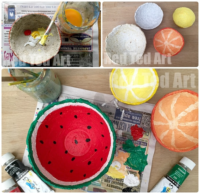 Making Summer Fruit Papier Mache Bowls