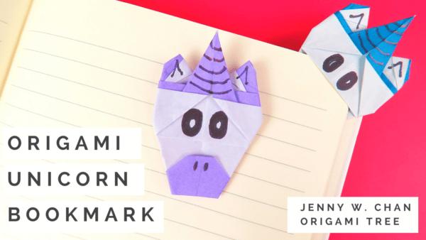 Origami Unicorn Corner Bookmark LARGE