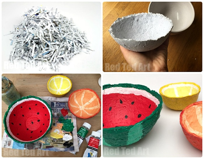 Shredded Paper Ideas - turn your shredded paper into summer fruit papier mache bowls