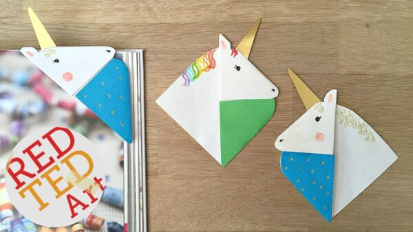 Unicorn Corner Bookmark! Easy and fun and oh so pretty. Turn these into horse bookmarks if you wish. So easy!