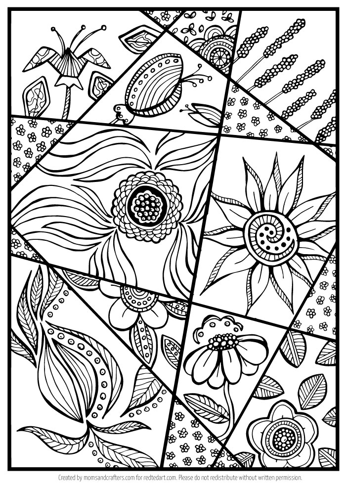 Flower Coloring Page for Grown Ups - Red Ted Art\'s Blog
