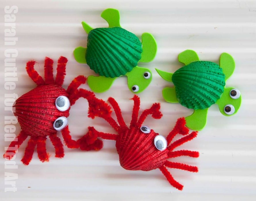 http://www.redtedart.com/2015/08/31/shell-crafts-crab-fridge-magnets/