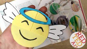 Angel Emoji Bookmark Idea - Love this Corner Bookmark Design. Great for Paper Christmas Craft for Kids
