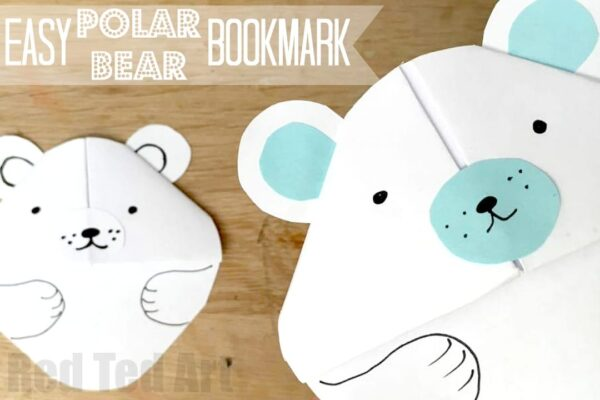 Easy Polar Bear Origami Bookmark Craft - make this super cute Paper Polar Bear Corner Bookmark. Love how he pops over the edge of your book to keep your page safe! #Bookmarks #winter #polarbear #wintercrafts #cornerbookmark #papercrafts