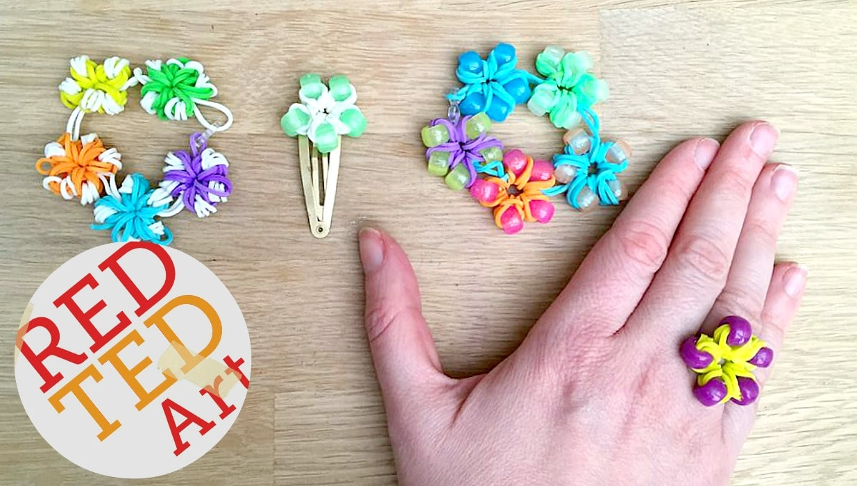 Loom Band Flower Ring Amp Bracelet Diy Red Ted Art S Blog