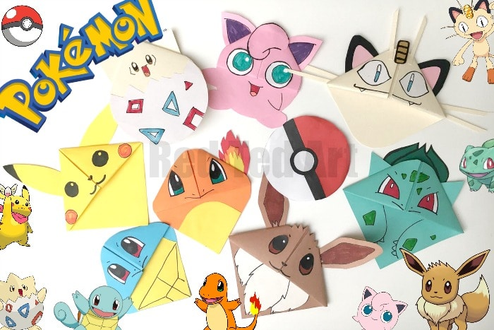 Pokemon Go Bookmark Corners -Some of the best Corner Bookmark designs ever. LOVE LOVE LOVE! Based on an EASY Origami Bookmark design, this is a great introduction to paper crafts for kids!#bookmarks #cornerbookmarks #bookmarkcorner #diybookmarks #bookmarkdesigns