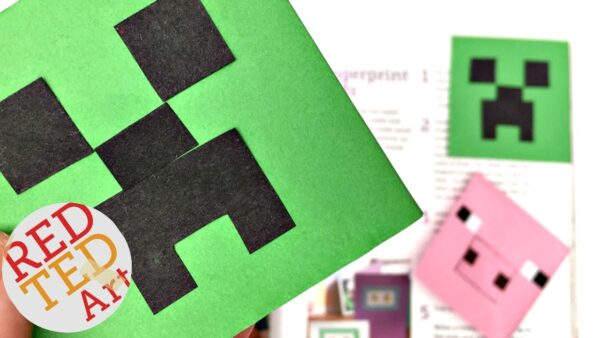 How to make a Creeper Corner Bookmark. Easy Paper Minecraft DIY for Minecraft Fans. Love this fun Corner Bookmark Design. Minecraft Bookmark ideas. #minecraft #bookmarks #designs #cornerbookmarks #creeper