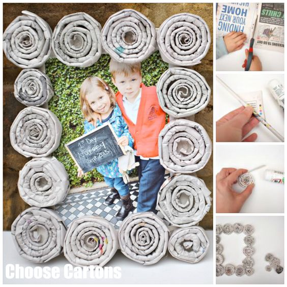 Newspaper frame - what a fun and quirky way to upcycle!