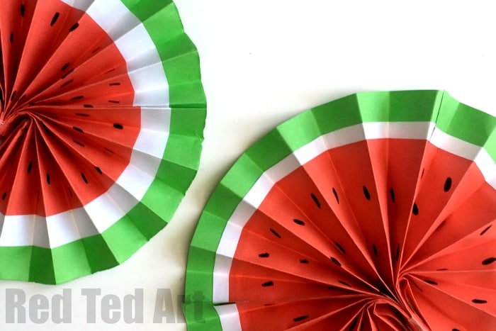 Diy Paper Fan Melon Fans Red Ted Art S Blog