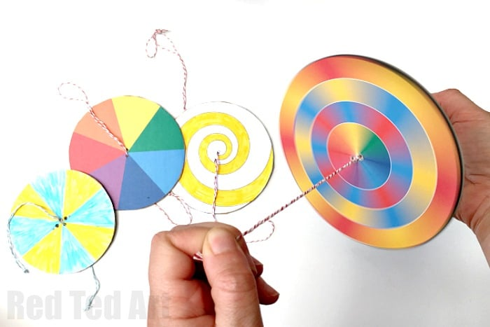 DIY Paper Spinner - simple to make and so fun to play with. Great for an STEAM lessons on colour theory