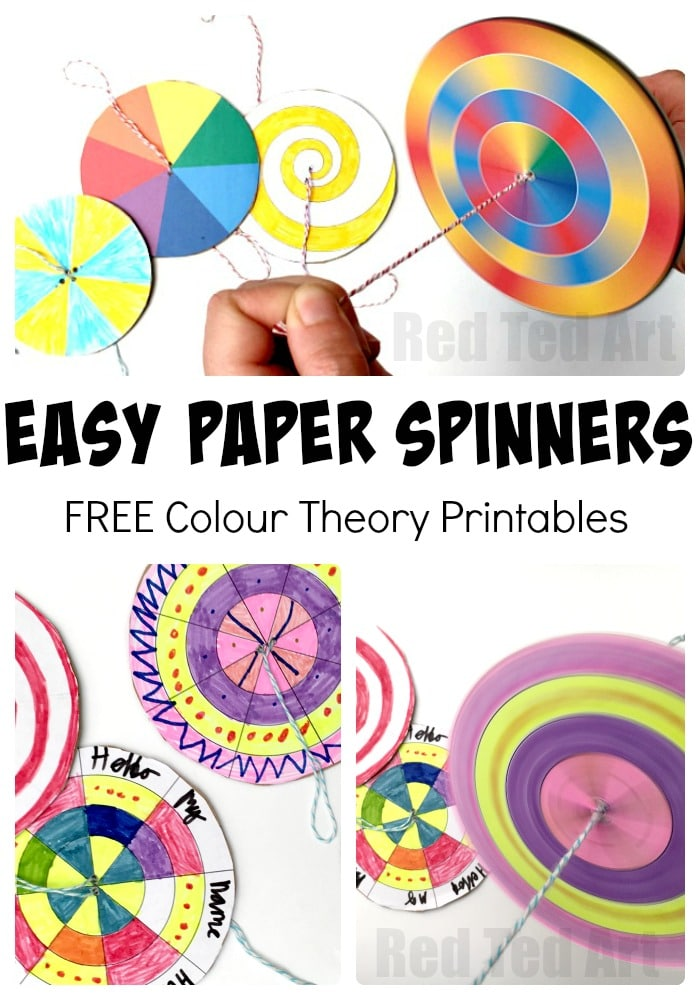 Diy Paper Spinner Toys Red Ted Art