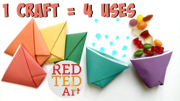 cup paper toy - super simple paper craft - learn how to make this simple Origami Paper Cup, use it for treats, drinking water, as an advent calendar or even a paper cup and ball game. 5 minute craft, lots of uses!