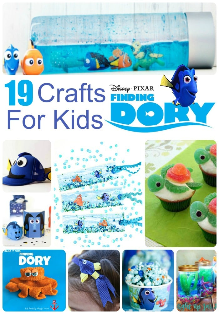 19 Finding Dory Crafts for kids of all ages - from Kids Crafts to Finding Dory Party Ideas to Finding Dory sensory exploration