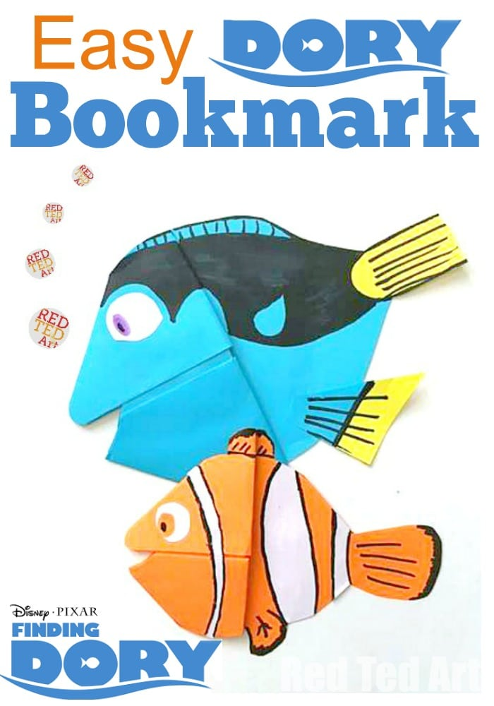 Adorable Finding Dory Bookmark Corner - this is a simple paper craft that will encourage your child to read too. Love the simple Dory How To instructions