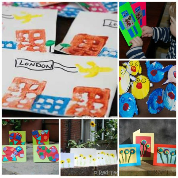 Collage of card making ideas for kids. Includes ideas for toddlers and preschoolers