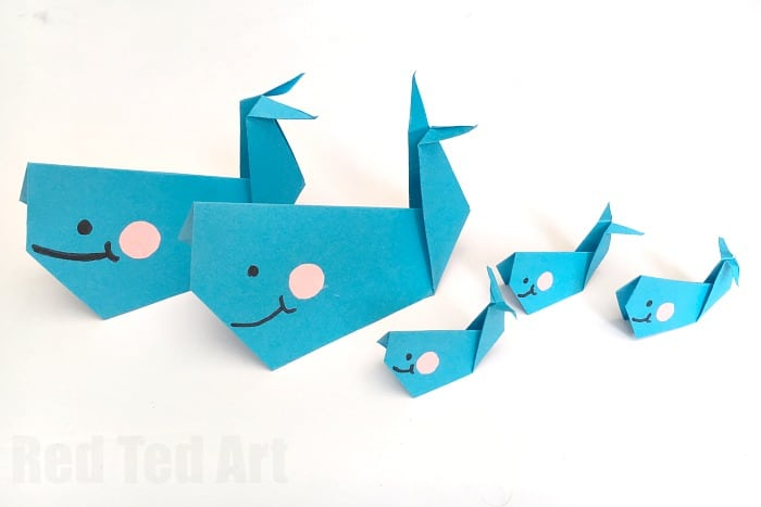 easy origami whale paper crafts for kids red ted arts