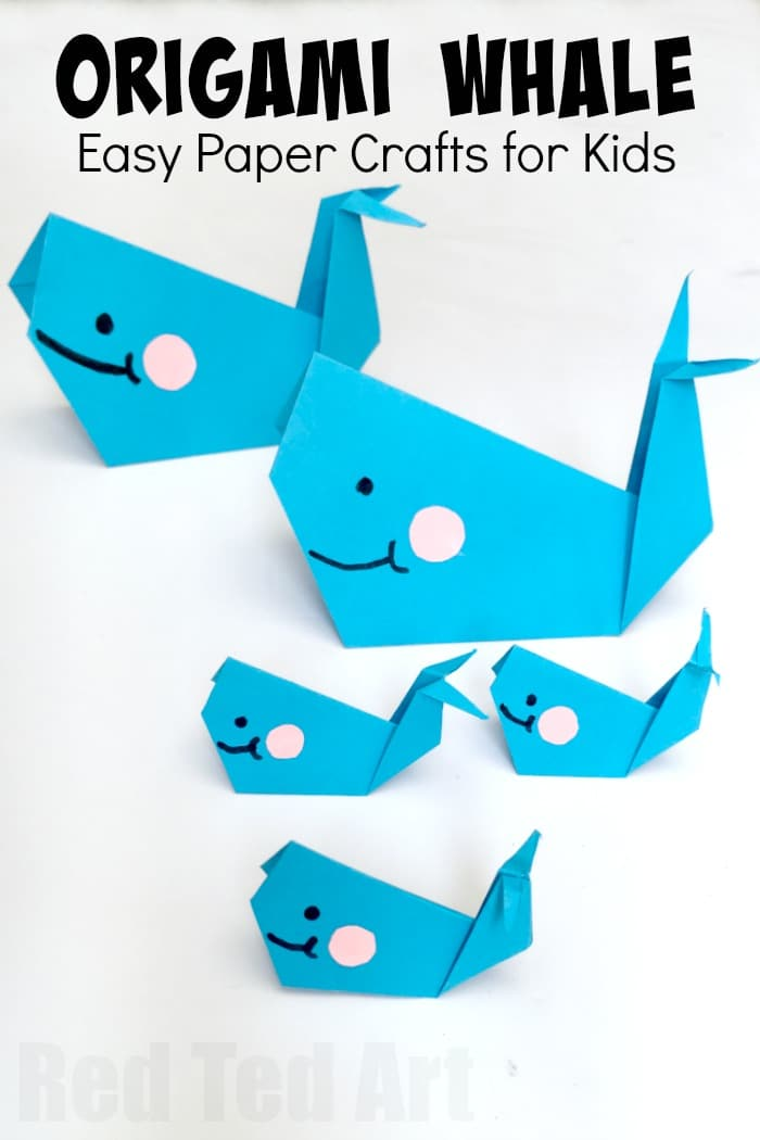 Easy origami whale paper crafts for kids red ted art 39 s for How to make easy crafts step by step