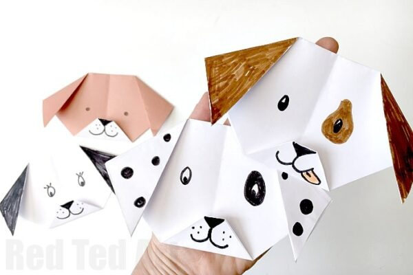 Easy Origami Dog for kids! Such a cute paper craft for kids. Turn it your favourite breed. You can even make an emoji puppy origami!