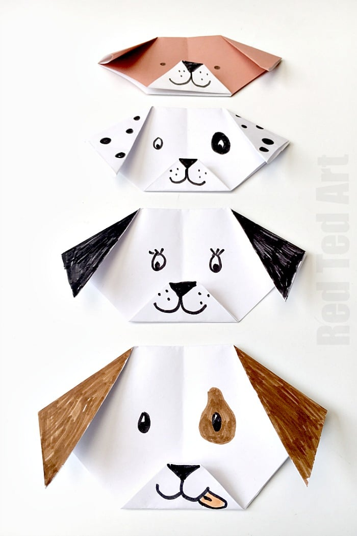 Easy Origami Dog Puppy Red Ted Arts Blog