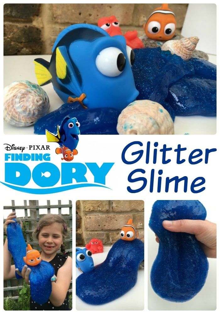Finding dory glitter slime diy - playing with slime is so so fun! And it is easy to make too. After a few days your diy slime turns into silly putty for more playful fun!