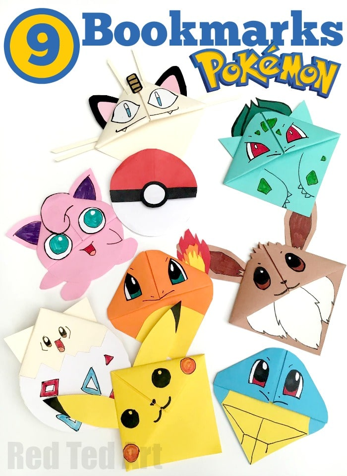 9 Pokemon Bookmark Corner Designs - Pokemon Go DIY - Red Ted Art's ...