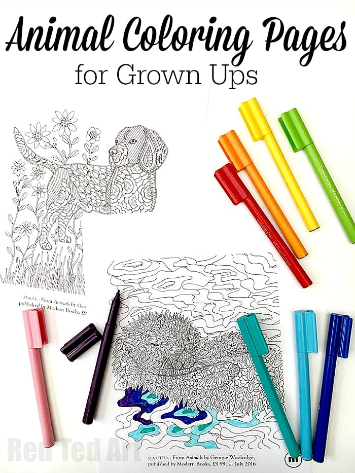 Animal Coloring Pages for Grown Ups Dog and Otter Designs Red
