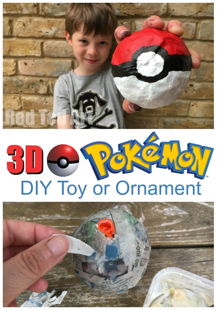 DIY 3D pokeball toy or Christmas tree ornament. Super fun to make.