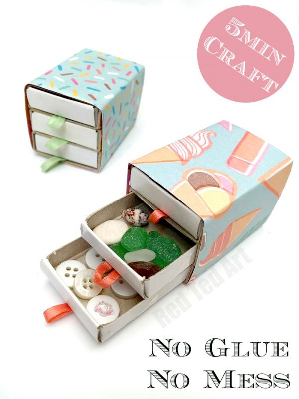 Easy Matchbox Drawer Chest - quick and easy to make - perfect for a dolls house, trinkets or a small gift. Adore Matchbox DIYs