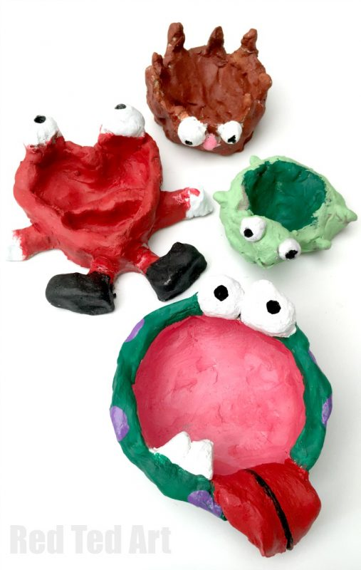 Pinch Pots or Thumb Pots - super fun clay project for kids - we loved making Monster Pinch Pots, Love Monsters Bowls a Turtle and Hedgehog