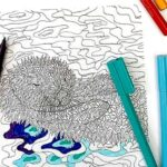 Animal Coloring Pages for Grown Ups – Dog and Otter Designs