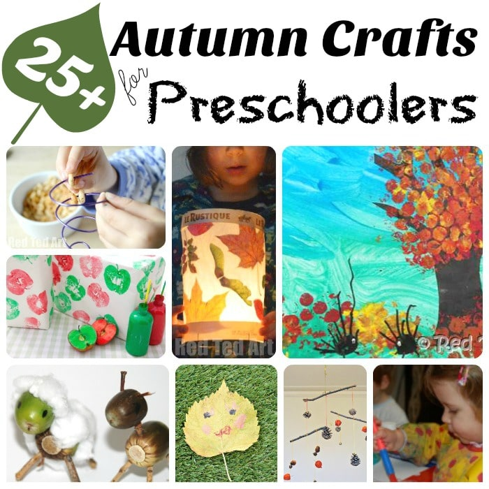 Oh how we love AUTUMN!!! Here is a brilliant set of Autumn Crafts for Preschoolers. Crafting with Tots and Preschoolers in Fall is a wonderful experience. They adore the process and we love the results. Hope you like this great mix or nature crafts and art projects for preschoolers to enjoy this Fall!