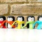 Rainbow Cork Penguin Ornaments