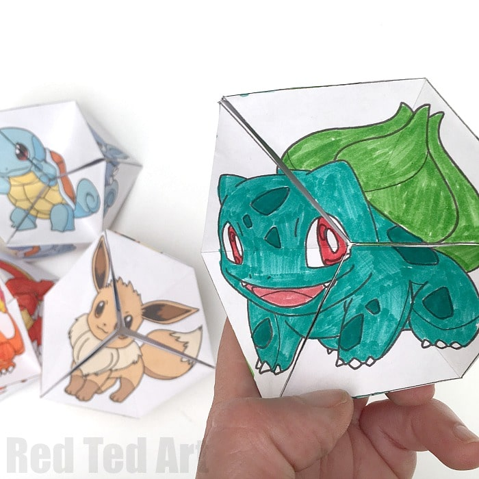 Pokemon DIY - Kaleidocycles - these never ending paper toys are a great way to explore our favourite Pokemon Evolution characters. Make Eevee, Squirtle, Charmandar and Bulbasaur. Pokemon Evolution DIY - Paper Toys - Kaleidocycle #pokemon #printables #toys #pokemoncrafts #pokemondiys #pokemonprintables #kaleidoscopes