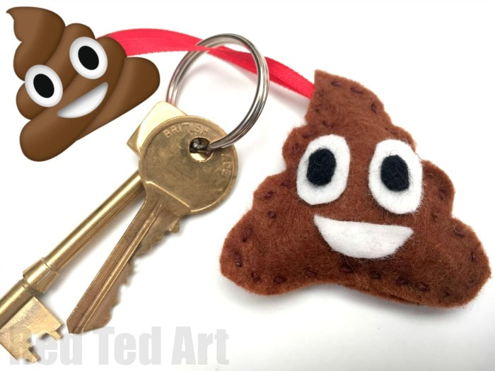 Poop Emoji DIY - make your own quirky Poop Emoji Keychains - perfect little Back to School DIY and a great way to get kids interested in sewing!