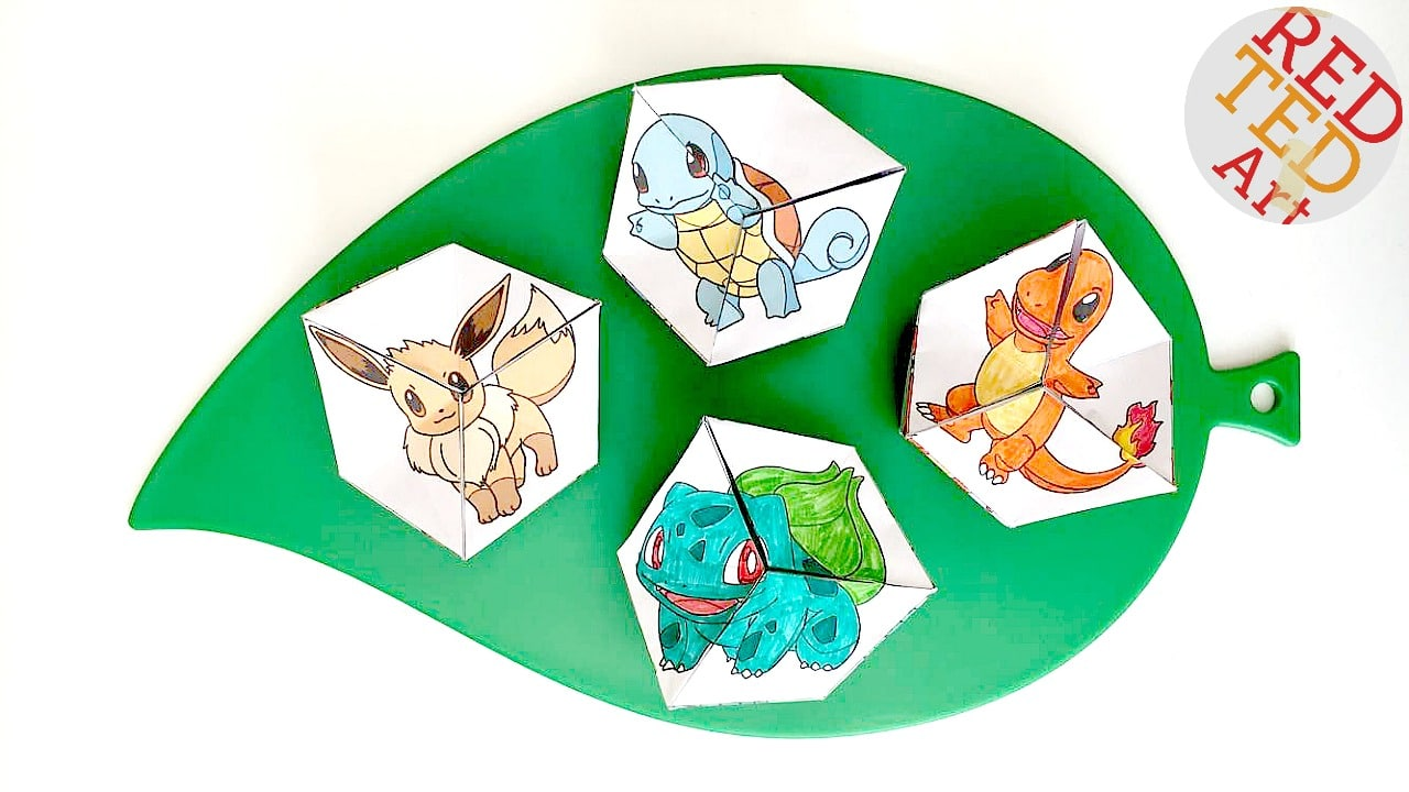 Pokemon Evolution DIY - Paper Toys - Kaleidocycle - Free Printables - get them in colour or in balck and whit to colour yourself!